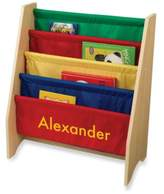 Kid Kraft Personalized Boy's Sling Bookcase in Primary with Yellow Lettering