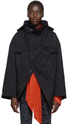 Balenciaga Black Cotton Twill Swing Jacket