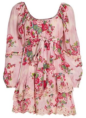 LoveShackFancy Pineville Pond Cotton Ambrosia Floral Silk-Blend Mini A-Line Dress