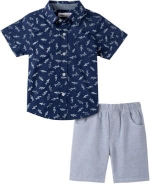 Kids Headquarters Baby Boys 2-Pc. Shark Shirt & Striped Shorts Set