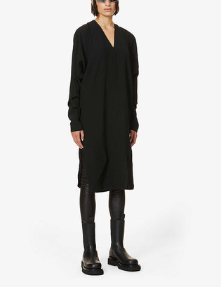 Rick Owens Dolman-sleeved loose-fit crepe midi dress