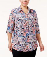 Charter Club Plus Size Paisley-Print Shirt, Only at Macy's