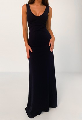 Missguided Navy Scuba Crepe Plunge Maxi Dress