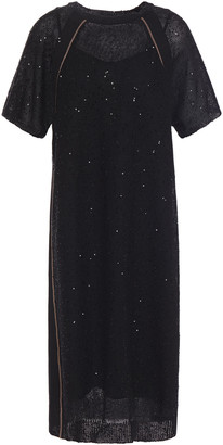 Brunello Cucinelli Embellished Knitted Midi Dress