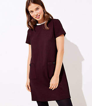 LOFT Tall Checked Ruffle Neck Pocket Shift Dress