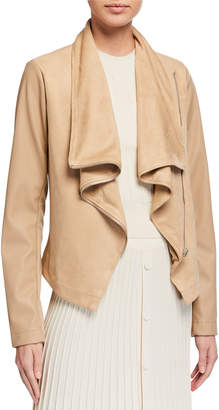 Bagatelle Faux-Suede Asymmetric Drape Jacket with Faux-Leather Sleeves