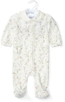 Ralph Lauren Footed Floral Pima Coverall, Cream/Purple, Size Newborn-9 Months