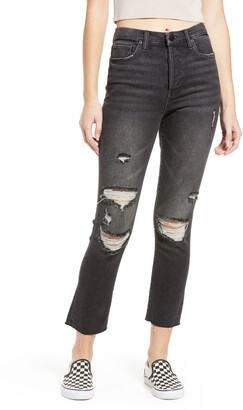 Blank NYC The Madison Ripped Mid Rise Straight Leg Jeans