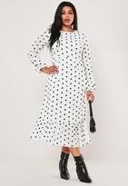 Missguided Plus Size White Polka Dot Maxi Smock Dress