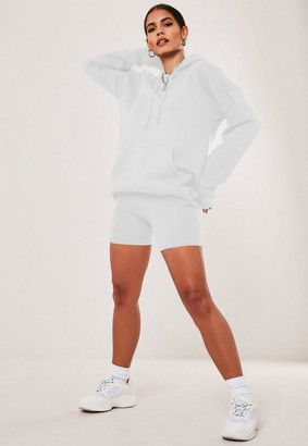 Missguided White Hoodie And Biker Shorts Co Ord Set