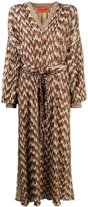 Missoni Pre Owned Woven Geometric Pattern Belted Dress