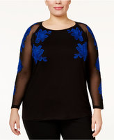 INC International Concepts Plus Size Embroidered Illusion Top, Only at Macy's