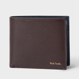 Paul Smith Men's Brown Leather Saffiano Stripe Print Billfold And Coin Wallet