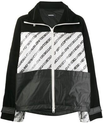 Diesel Logo Print Hooded Jacket