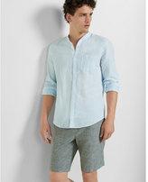Express band collar linen cotton shirt