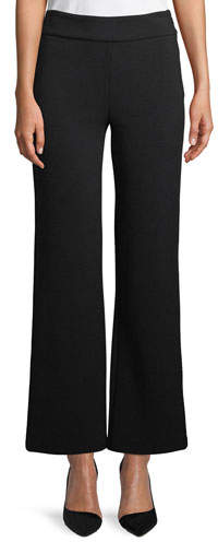 Emporio Armani Side-Zip Textured Stretch-Jersey Flared-Leg Pants