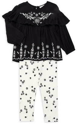 Jessica Simpson Baby Girl's 2-Piece Embroidered Top Stretch-Cotton Pants Set