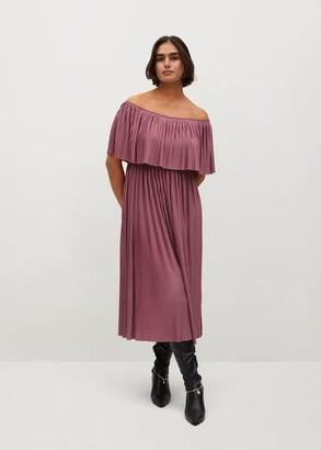 MANGO Violeta BY Off-shoulder pleated dress pink - 10 - Plus sizes