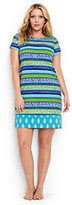 Classic Women's Plus Size Swim Cover-up T-shirt Dress-Scuba Blue Foulard Stripe