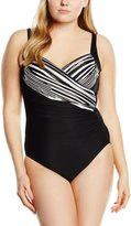 Miraclesuit Womens Sanibel Underwire Metallic One-Piece Swimsuit Black 14