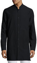 Helmut Lang Mandarin-Collar Long-Line Shirt, Black