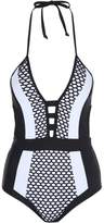 Jane Norman Monochrome Plunge Neck Swimsuit