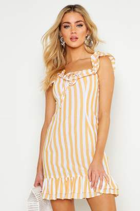 boohoo Ruffle Detail Square Neck Swing Dress