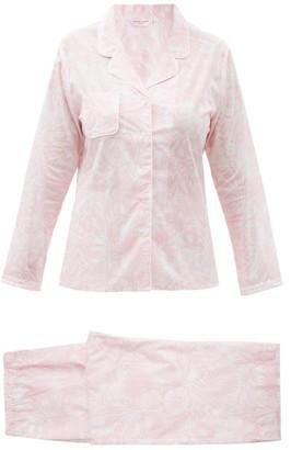 Derek Rose Ledbury 42 Leaf-print Cotton-batiste Pyjamas - Pink White