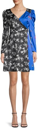 Lea & Viola Floral-Print Faux Wrap Dress
