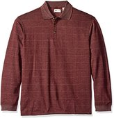 Haggar Men's Long-Sleeve Soft Brushed-Back Windowpane Polo Shirt