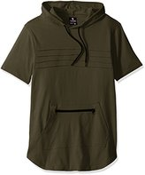 Southpole Men's Short Sleeve Scallop Hoodie with Pin-Tuck Details
