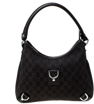 Gucci Dark Brown GG Canvas Medium D-Ring Abbey Hobo