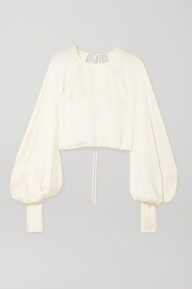 Orseund Iris Drama Cropped Satin Blouse - Cream