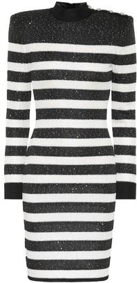 Balmain Sequined striped dress
