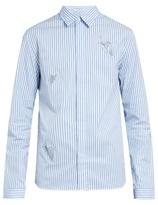 J.w.anderson Snail-appliqué Striped Cotton Shirt