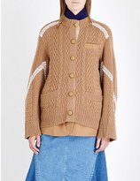 Sacai Cable-knit layered wool cardigan