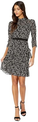 Rebecca Taylor Long Sleeve Celia Lace Dress (Black Combo) Women's Dress