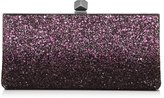 Jimmy Choo CELESTE/S Pink and Black Coarse Glitter Dégradé Clutch Bag with Cube Clasp