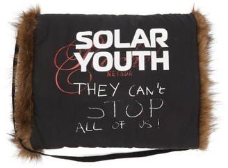 Raf Simons Solar Youth-print Cotton And Faux-fur Muff - Black Multi
