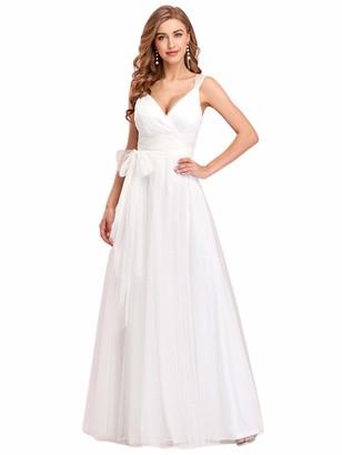Ever Pretty Ever-Pretty Women's V Neck Floor Length Fit Pleated Sleeveless Evening Dresses Blush