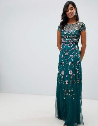 Frock and Frill floral embellished maxi dress in emerald green