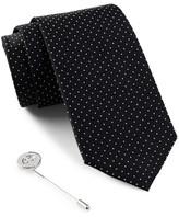 Ben Sherman Silk Dot Tie & Lapel Pin Box Set