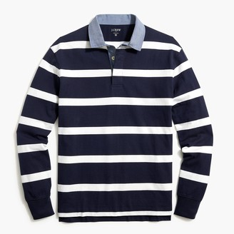 J.Crew Rugby striped shirt with chambray collar