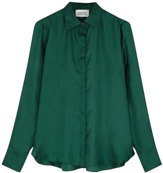 Mark Kenly Domino Tan Bertine dark green silk-satin blouse