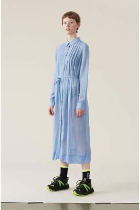 Ganni Printed Georgette Shirt Dress