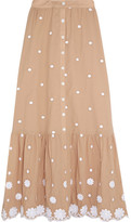Miguelina Aiden Embroidered Cotton Skirt - Sand