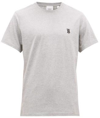 Burberry Parker Logo-embroidered Cotton T-shirt - Light Grey