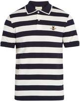 Gucci Bee-appliqué striped cotton polo shirt