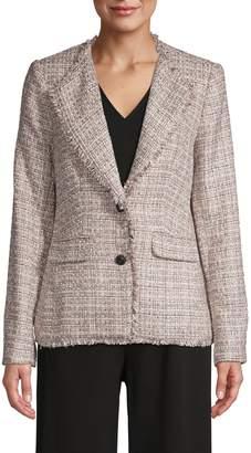 Karl Lagerfeld Paris Tweed Fringe Trim Blazer