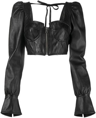 Manokhi Draped-Sleeve Cropped Leather Top
